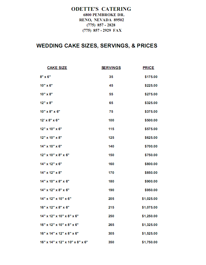 Image detail for -... odettes catering reno cake prices - odettes ...