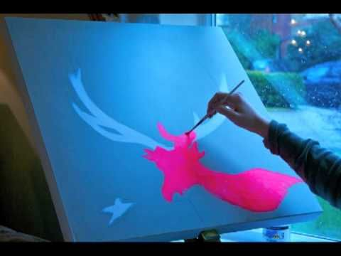 Timelapse Video of Neon Stag Painting By Louise McNaught - YouTube