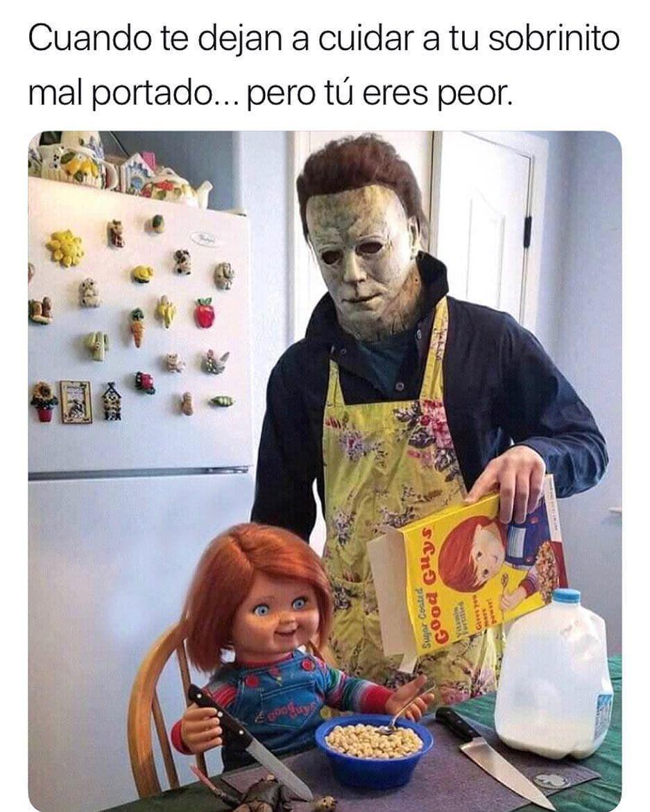Yo Con Mi Hermano Menor Y Mi Sobrio Jaja Memes De Halloween Memes Estupidos Memes Divertidos