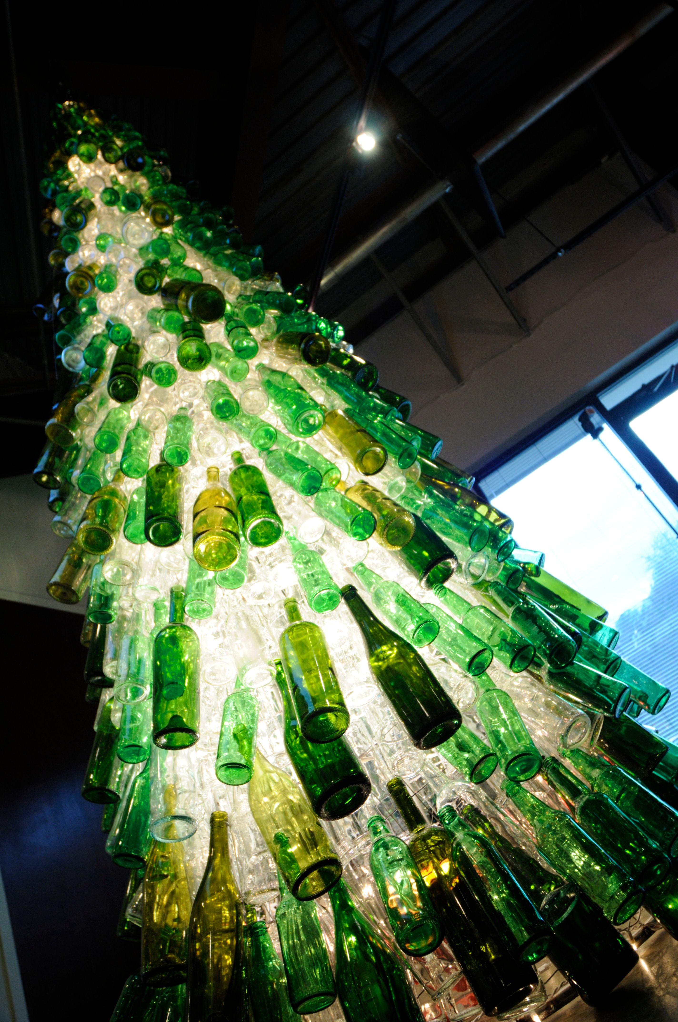 1250 beer and wine bottles Holliday installation