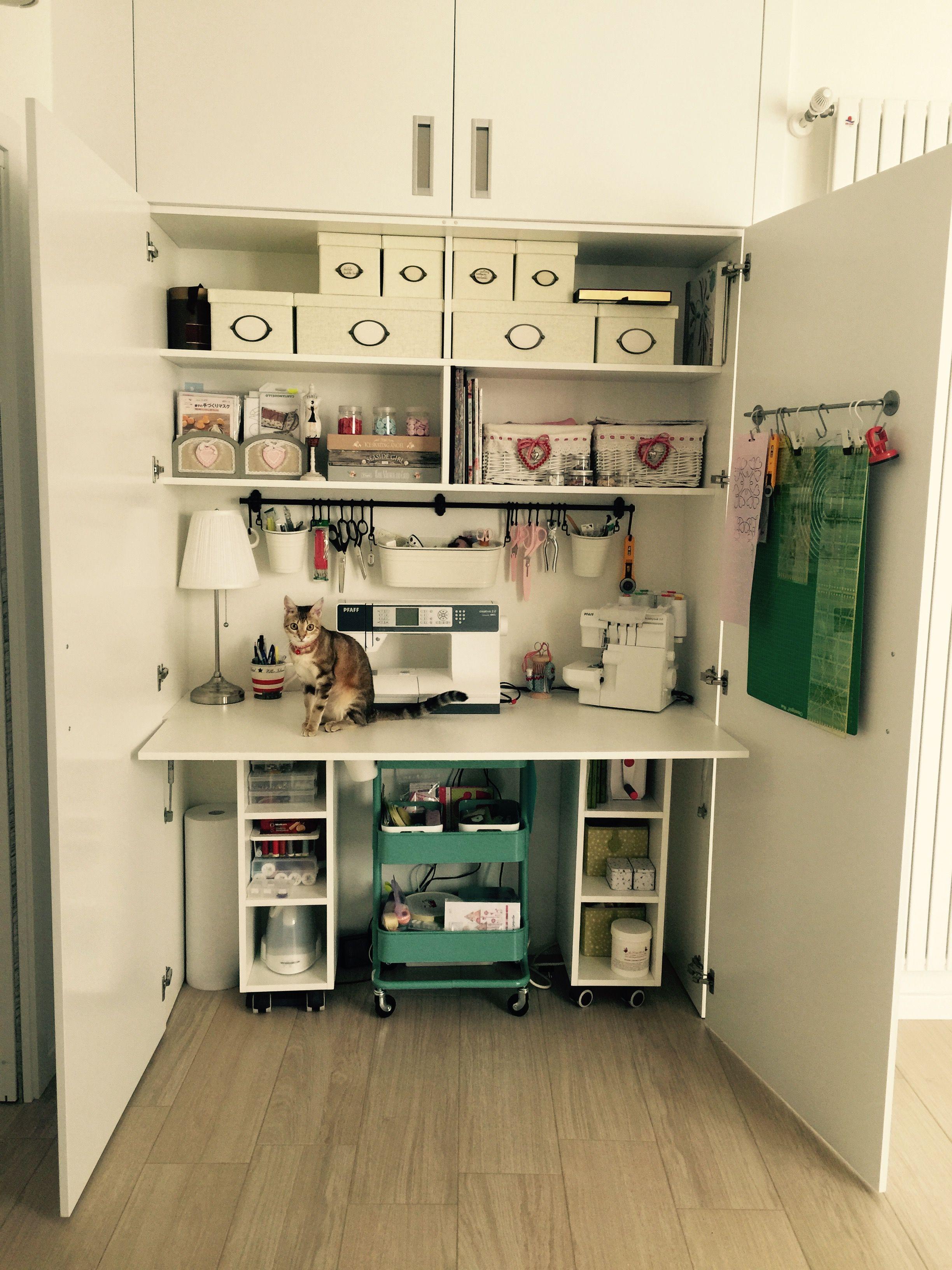 sewing in cabinet Nähen nähen nähen Pinterest