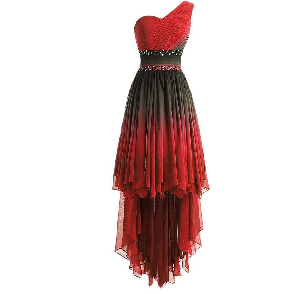 135ac8fbe75 Lemai High Low Beaded Prom Homecoming Cocktail Dresses Black Gradient Red  Plu...  Ombre gradient chiffon…  WomensClothing  LadiesClothes