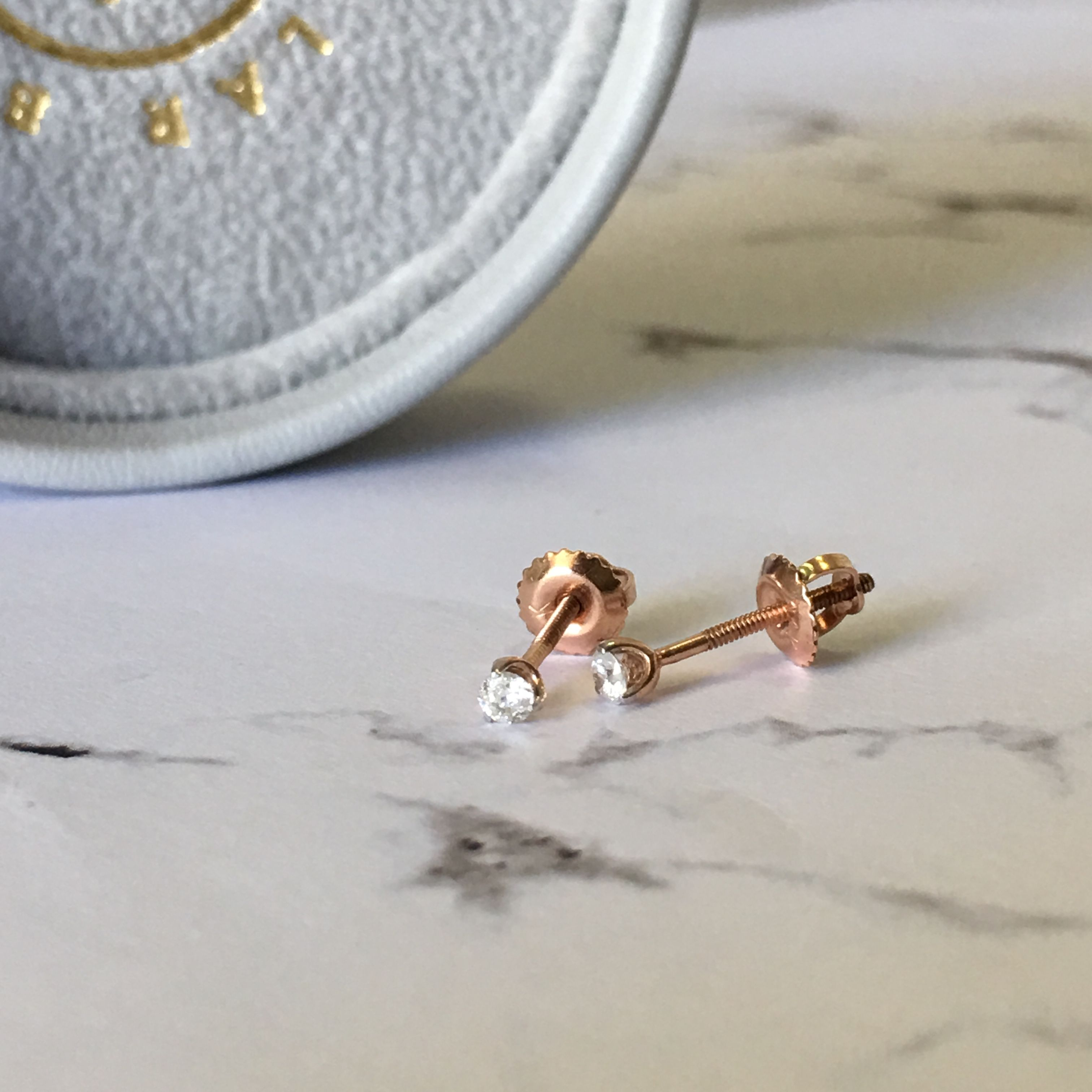Suha 0 15CT Diamond Earrings featured in Rose Gold suitable for