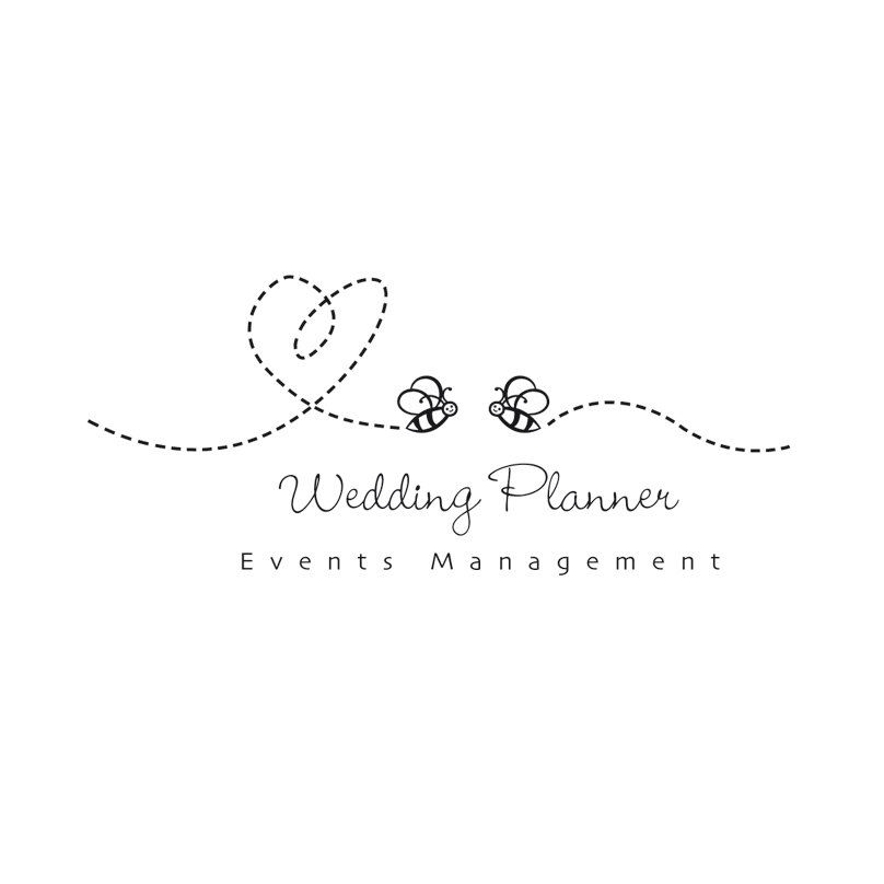 Cute Bee Logo Wedding Planner Events Custom Business Honey Instant By Esani On Etsy