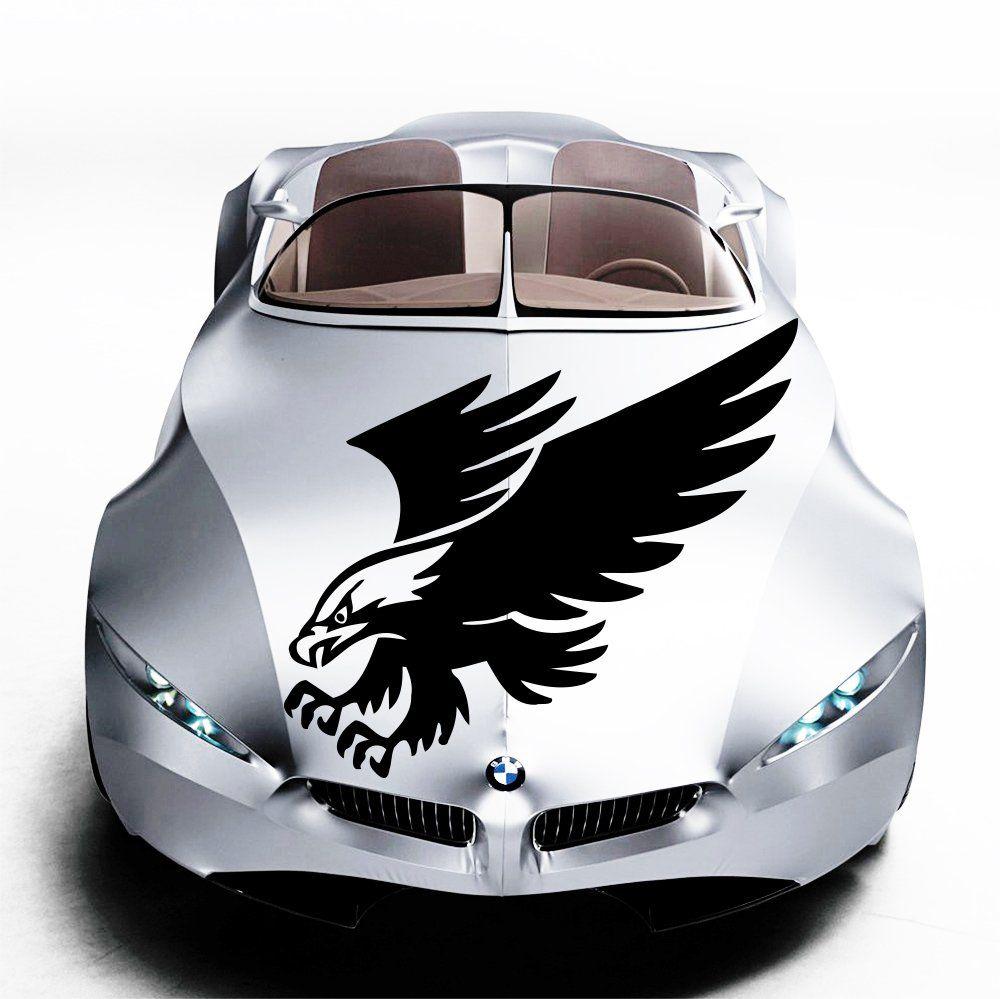 Car Decals Hood Decal Vinyl Sticker Eagle Bird Predator Auto Decor - Custom vinyl decals for car hoodsowl full color graphics adhesive vinyl sticker fit any car hood