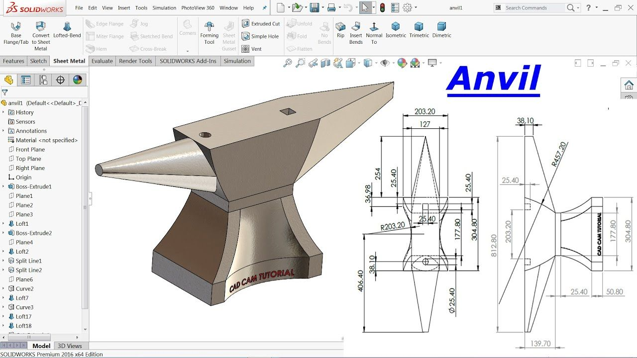 Solidworks Tutorial Anvil Youtube In 2020 Solidworks Tutorial Solidworks Mechanical Engineering Design