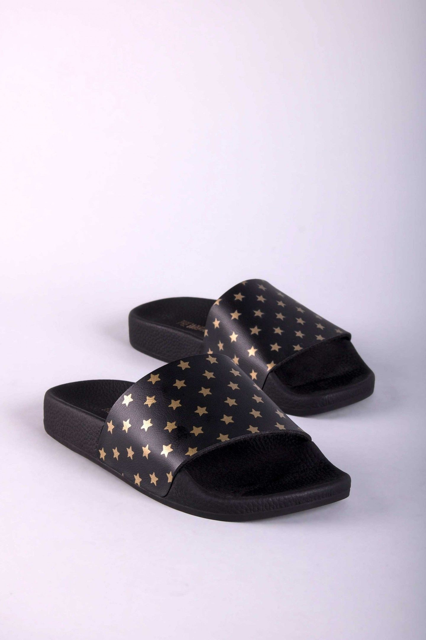 1ba57179765c3d MINI GOLD STARS - TheWhiteBrand SS 18 New Collection. Unisex flat slide  sandal in black
