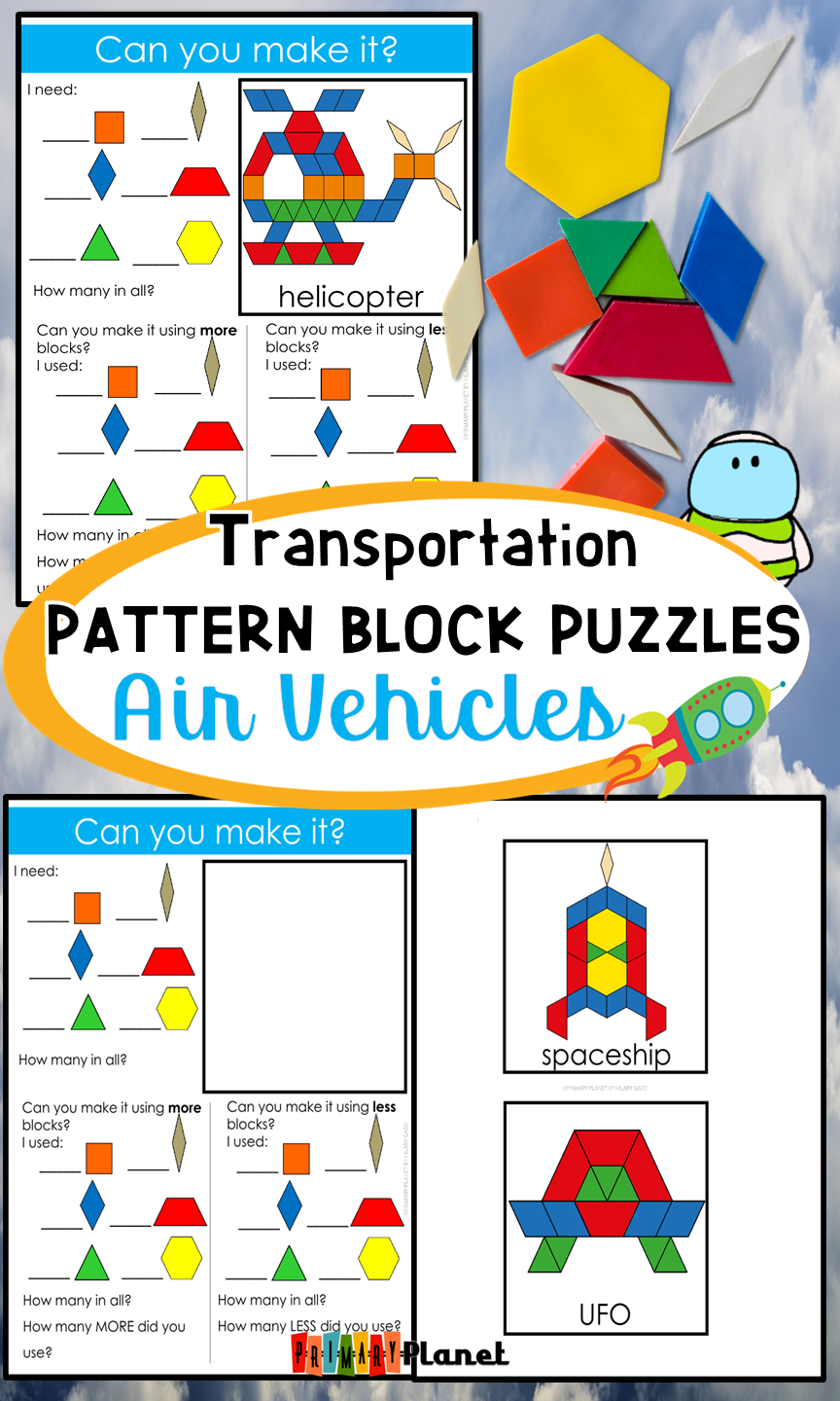 Transportation Pattern Block Mat Puzzles Air Vehicles Pattern
