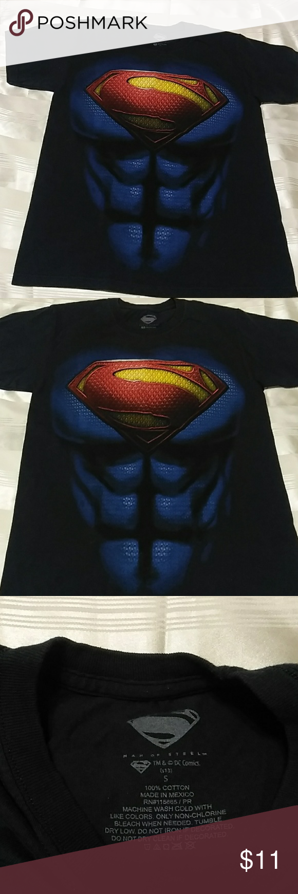 Superman Tee J 105 Navy Blue Logo red and yellow with touch of teal