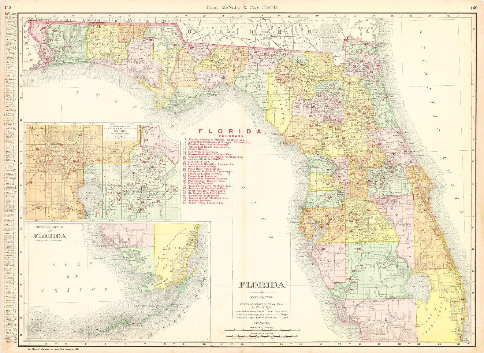 Rand Mcnally Map Of Florida.Florida Rand Mcnally Co C1892 311 Their New Business Atlas