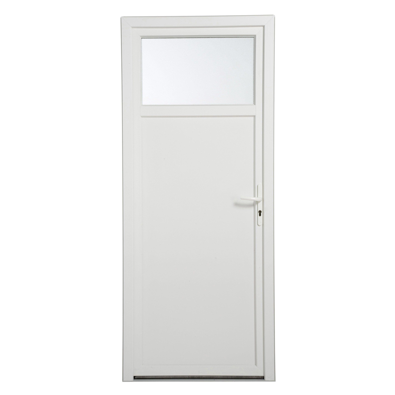 Porte De Service Pvc H 200 X L 90 Cm 1 3 Vitree Blanc Poussant