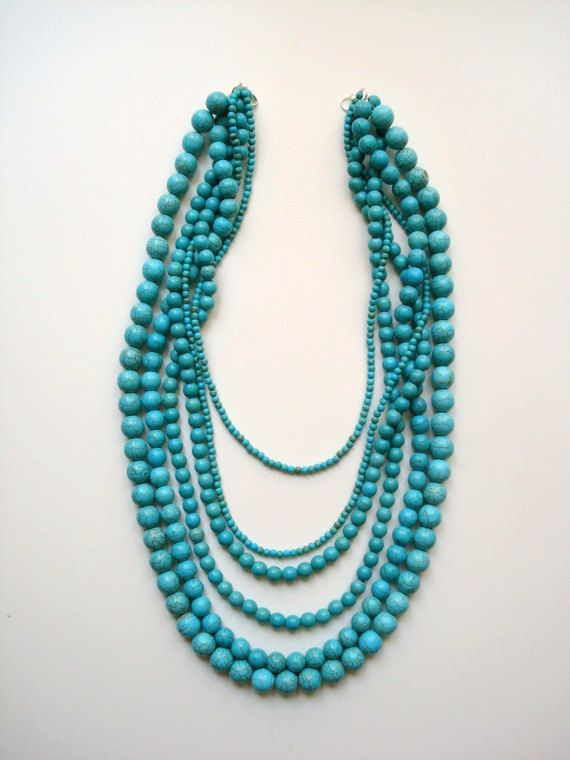 Turquoise Multistrand Necklace by BeadtiqueLA on Etsy, $16.00
