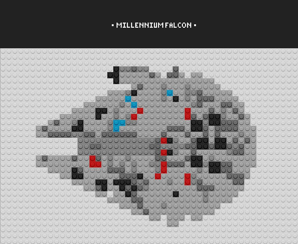 The Millennium Falcon starship Star Wars Pixel Art