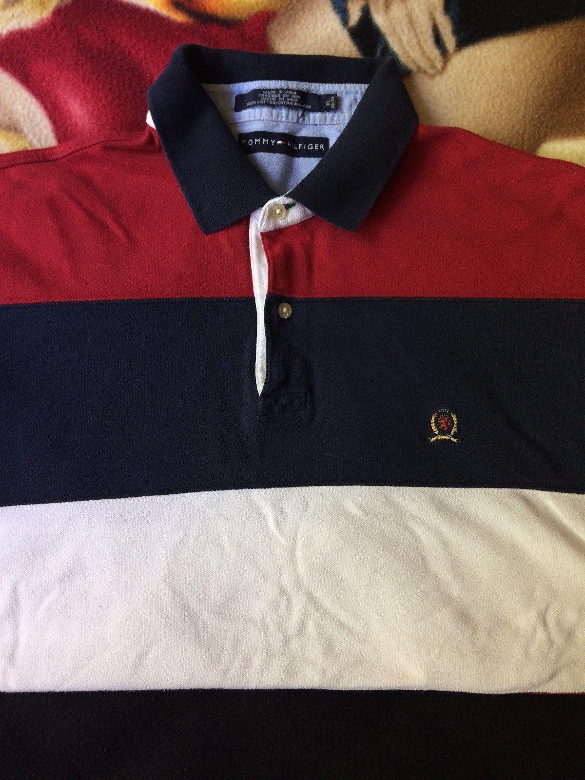 325eba11 Vintage Tommy Hilfiger Shirt Rugby Polo crest logo Long Sleeve Xl | eBay
