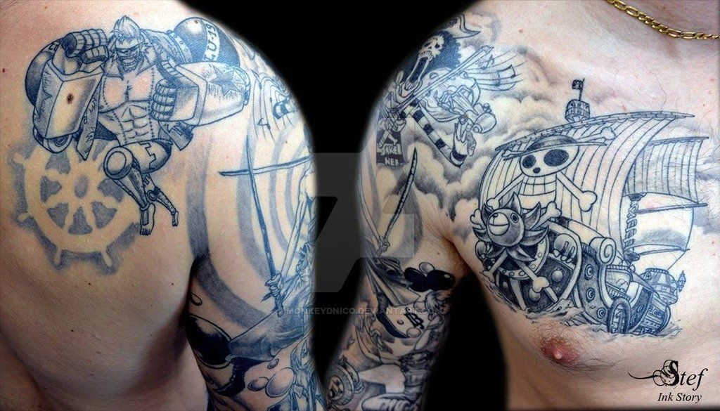 one piece tattoo by by monkeydnico deviant art anime tattoo pinterest pieces tattoo. Black Bedroom Furniture Sets. Home Design Ideas