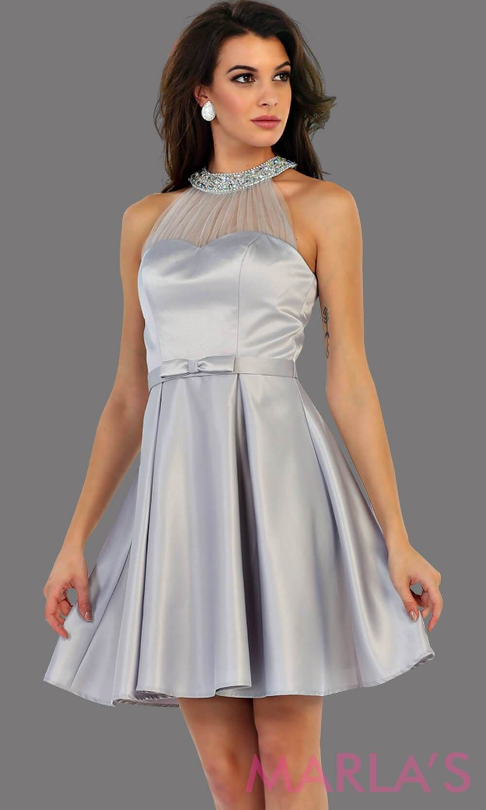 854f149355b 1474-Short high neck taffeta gray grade 8 grad dress with rhinestone  neckline. Perfect as a silver confirmation dress