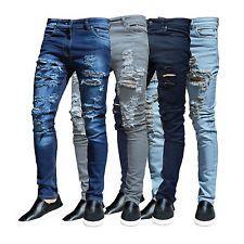Mens Ripped Skinny Jeans Slim fit Stretch Denim Distress Frayed Biker Jeans Blue