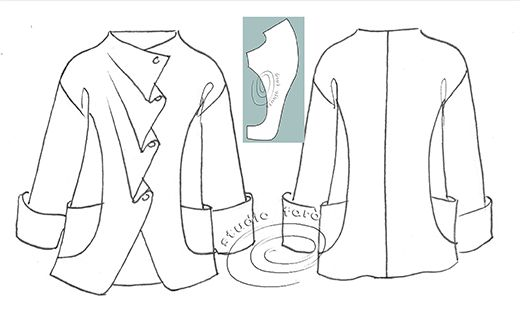 Asymmetric Kimono style Jacket - Just like our Advanced Pattern Making Workshops - http://www.studiofaro.com/industry/advanced