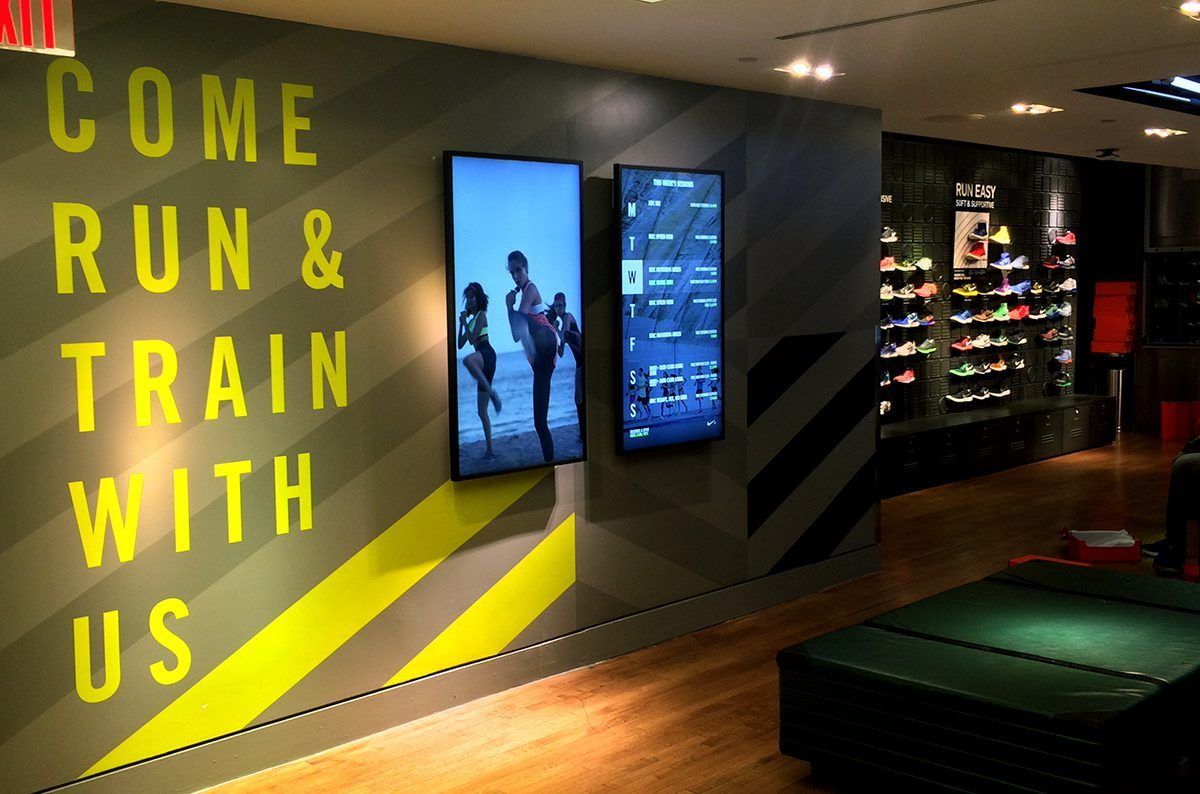 """Nike Electrifies Their Brand With Rosco Paint - The team at the Derse marketing agency uses a blend of Rosco Fluorescent Paints to add the electric """"pop"""" needed to create the neon Volt color seen inside Nike Stores across the United States."""