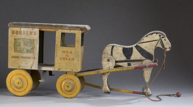 Borden's horse drawn milk car. : Lot 235