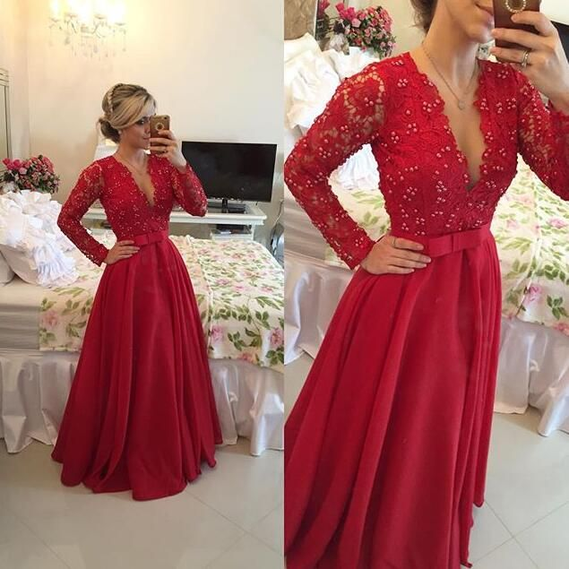 Long sleeved lace prom dress