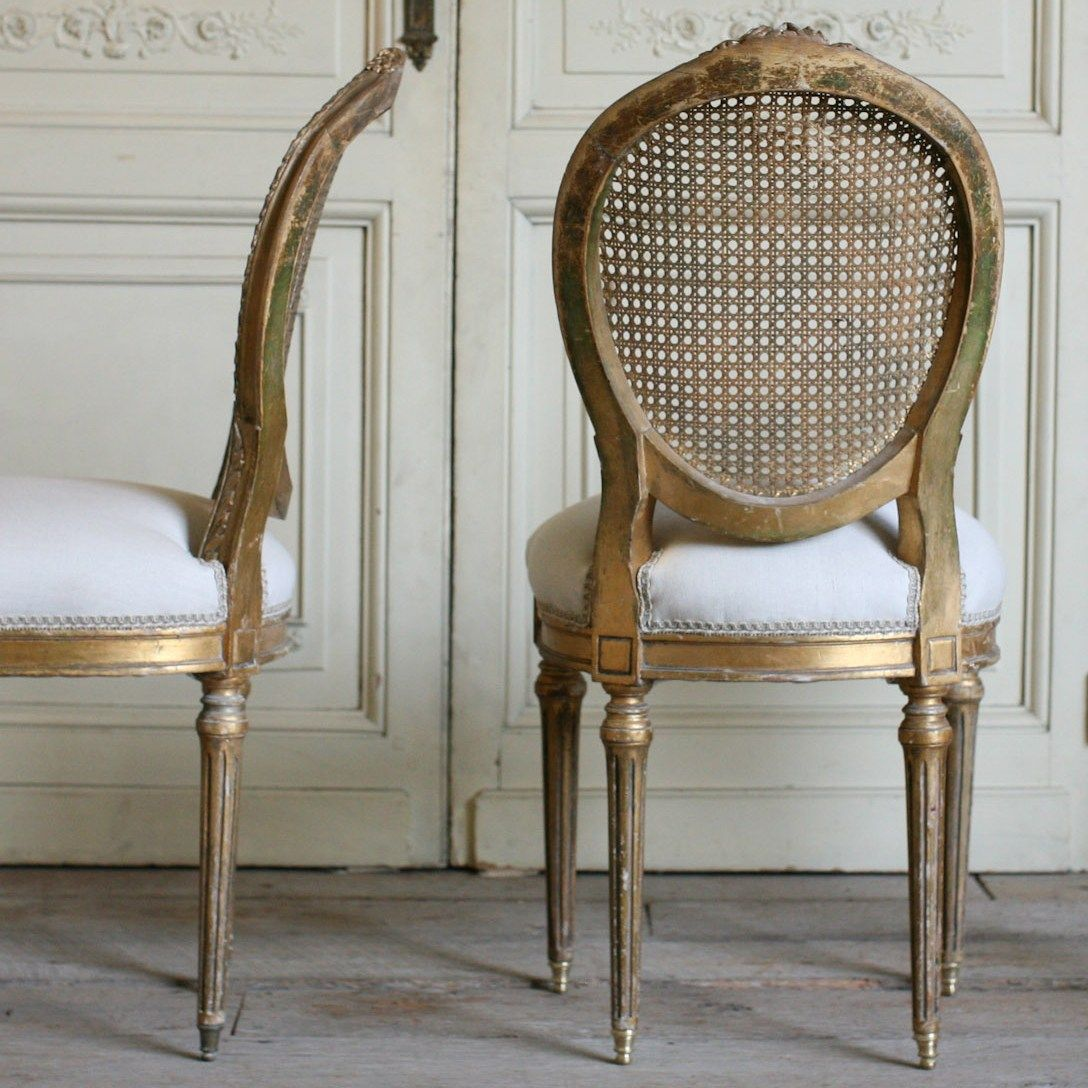 One Of A Kind Vintage Side Chair Gold Cane Set Of 2