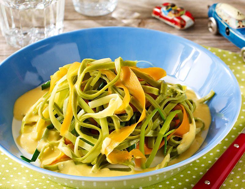 Gemüseschlangen mit Bandnudeln für Kinder   Rezept ...