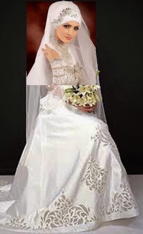 Gambar Baju Pengantin Muslim Modern Putih Elegan Desain Baju