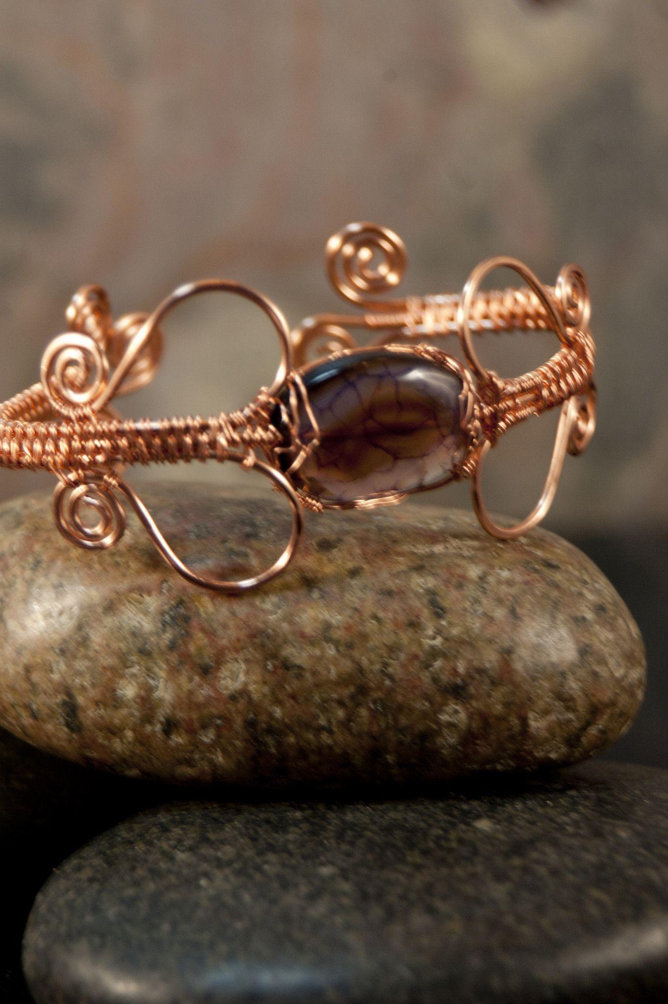 Dragon Vein Agate Wire Woven Copper Bracelet - Simply Unique Jewelry ...