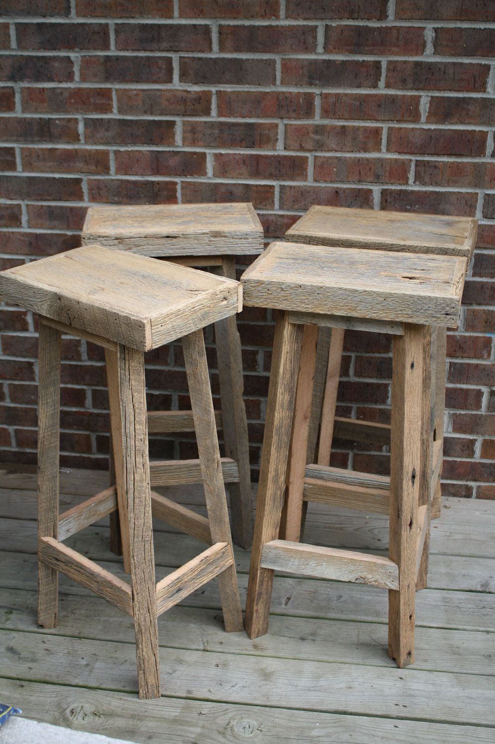 Your Reclaimed Rustic And Recycled Oak Barn Wood 33 36 Inch Tall Rectangle Top Bar Stool 125 00 Via Etsy