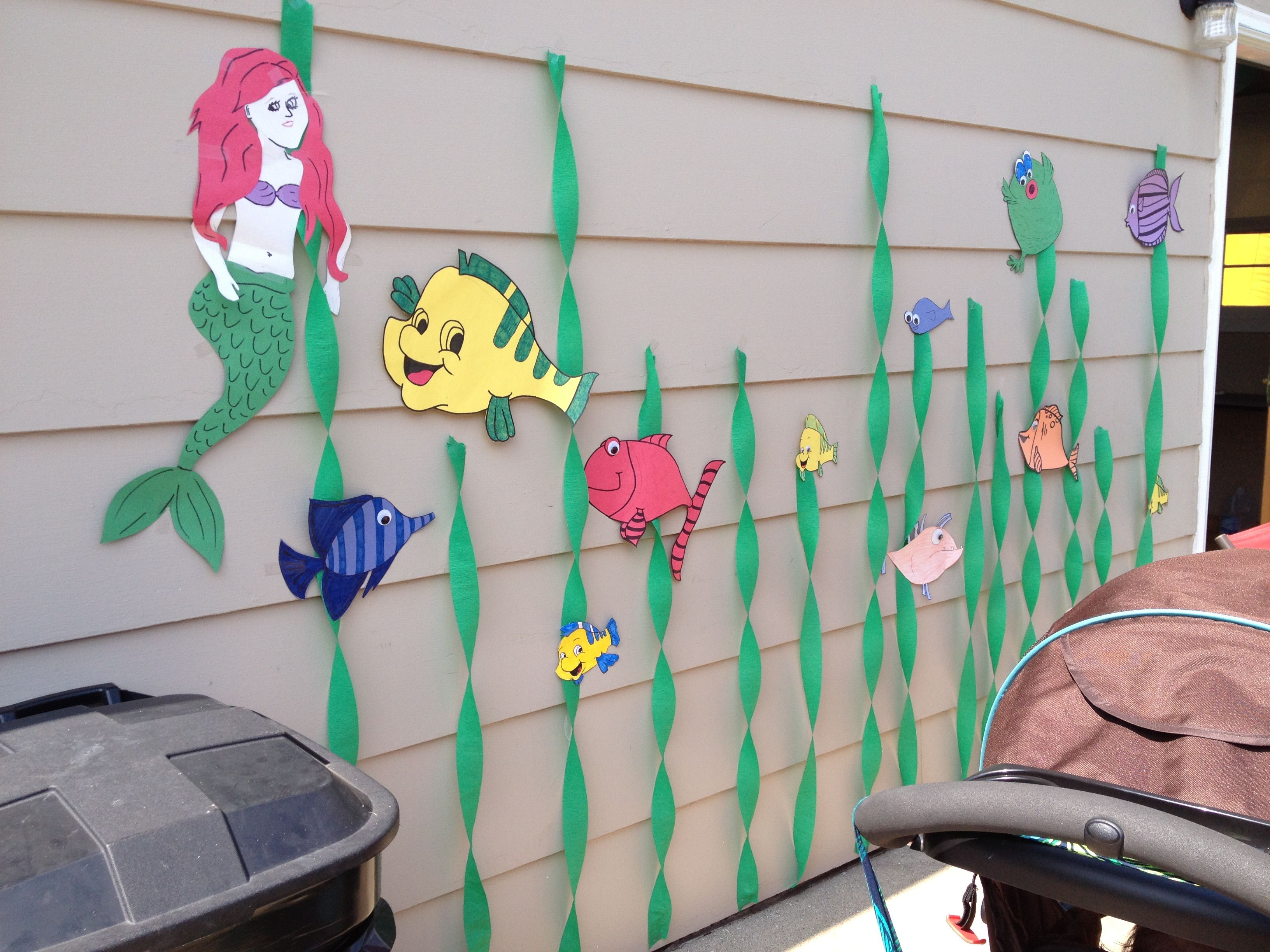 Little mermaid themed birthday party arts and crafts for Mermaid arts and crafts