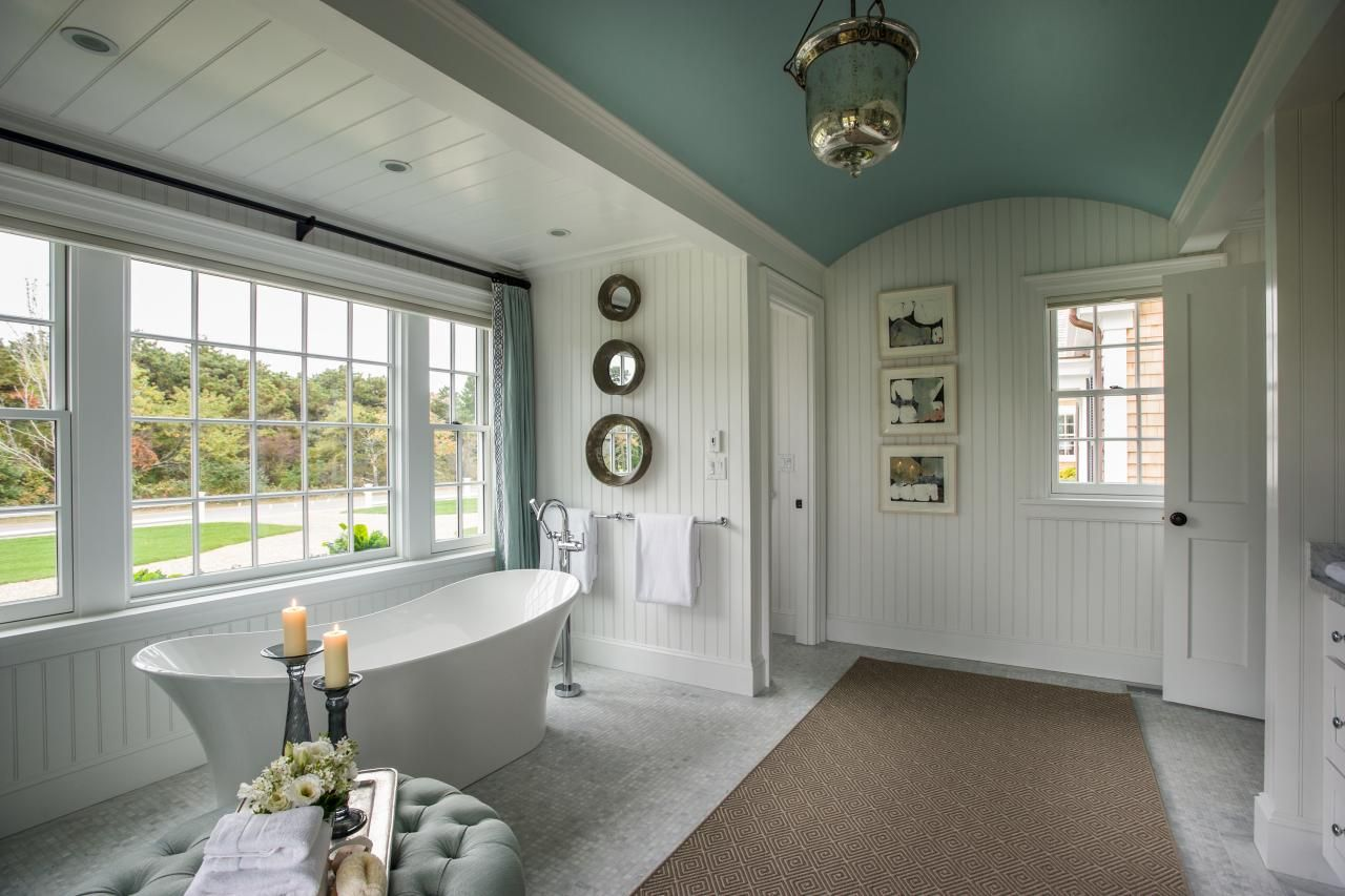 Dream Home 2015 Master Bathroom Blue Curtains Tubs And