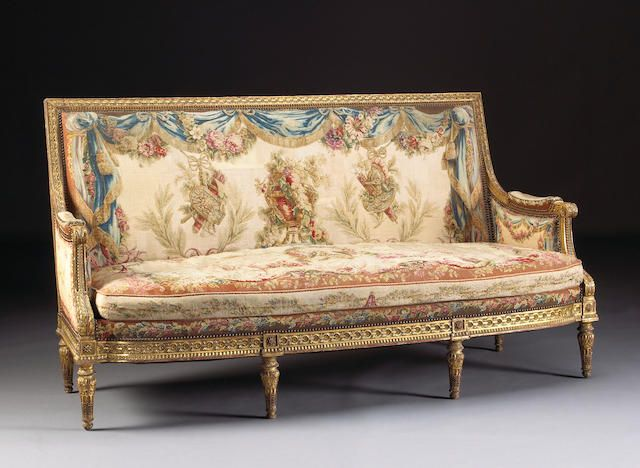 A fine suite of Louis XVI style giltwood and Beauvais tapestry