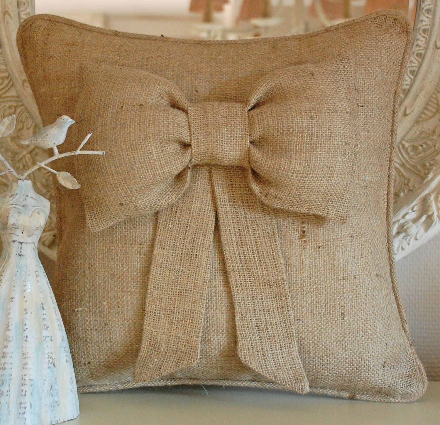Puffy bow burlap pillow cover. $32.00, via Etsy.