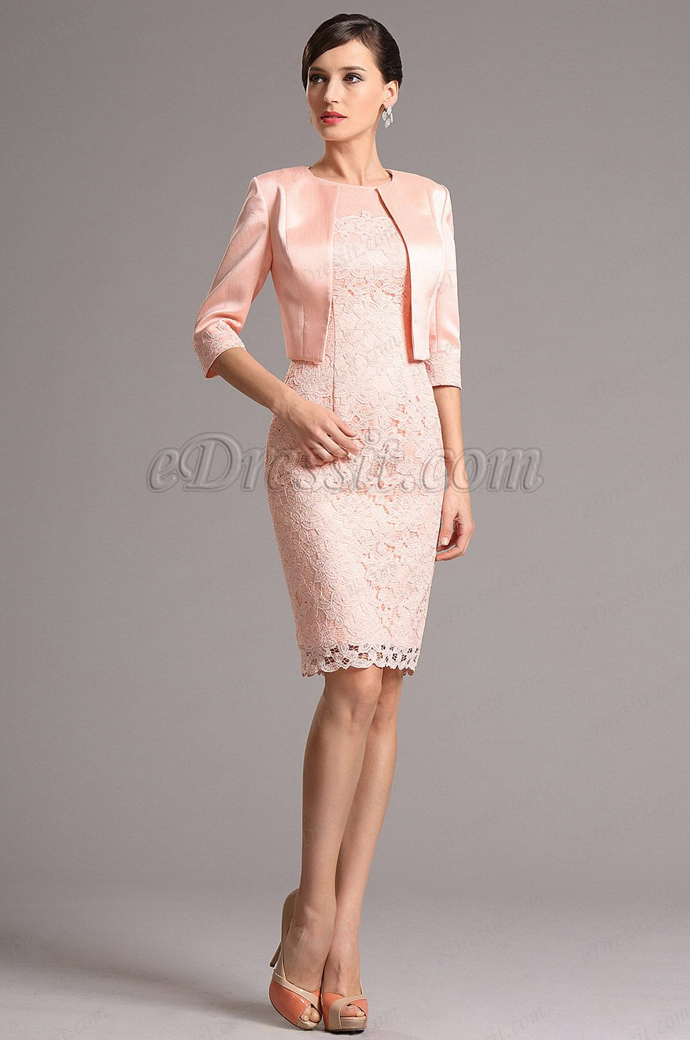 Pink dress and jacket for wedding  Pink Mid Sleeves Knee Length Two Pieces Cocktail Dress