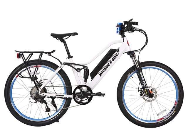Pin On X Treme Sedona 48 Volt Black Black With Red And White Blue White Electric Bicycle