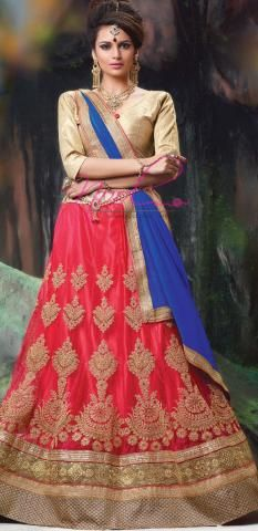 2d367d2bcc Lacha Lehenga Photos Red Net Silk Pavadai Semi Stitch ND1103D10162 ...