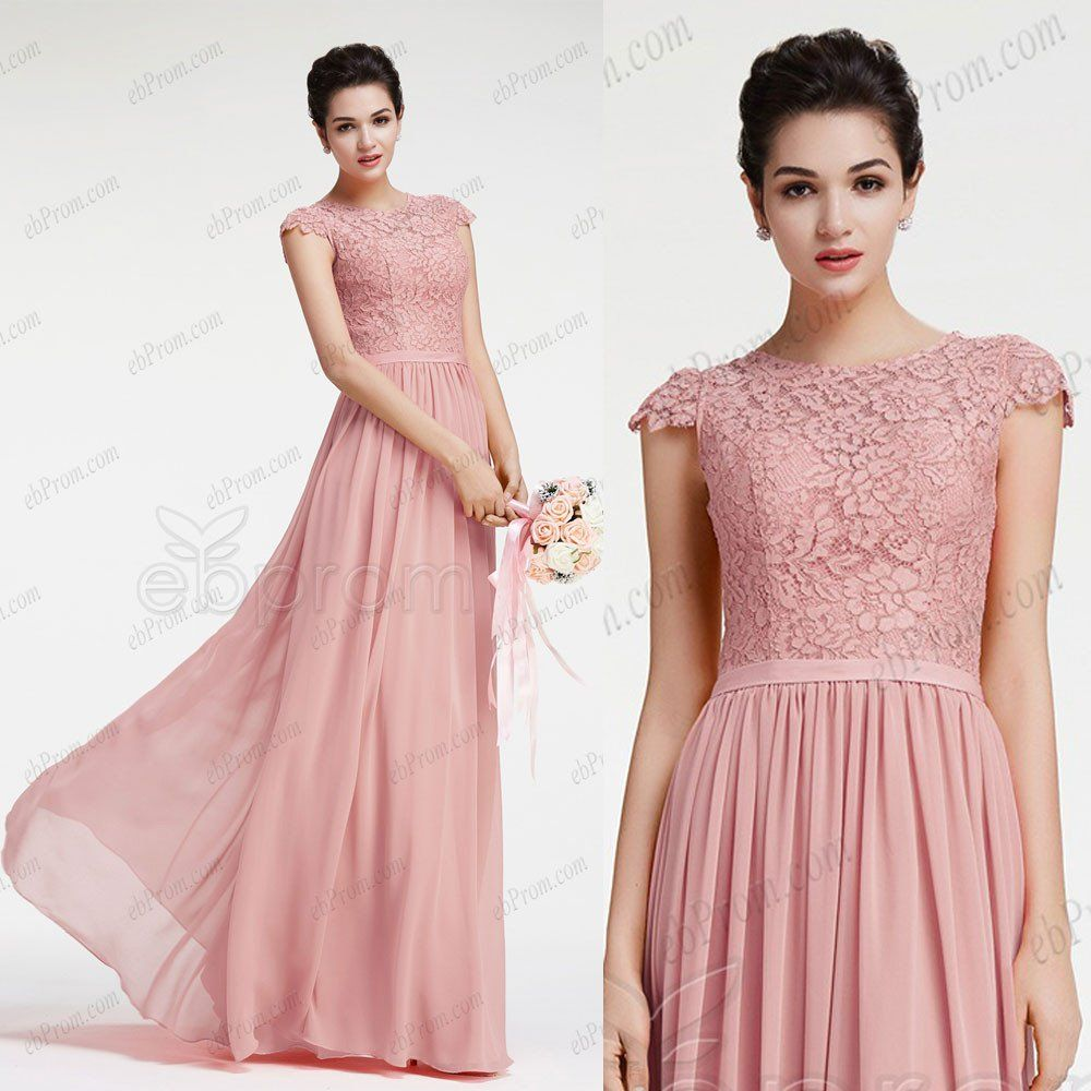 Dusty pink bridesmaid dresses with cap sleeves | Damas, Eventos y Boda