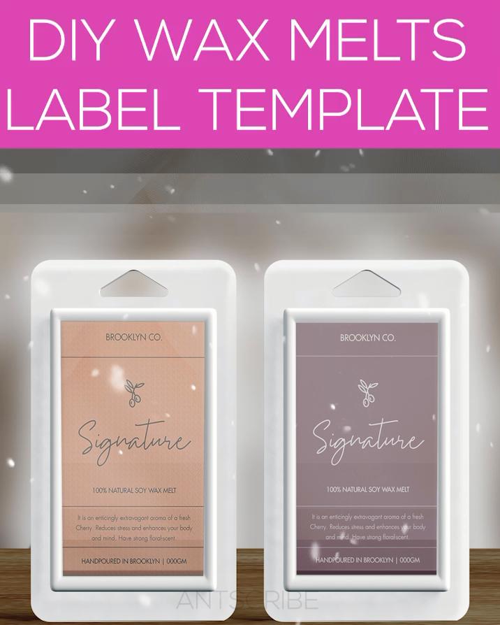 2x3 Soy Wax Melt Labels Template DIY \u2014 Wax Melt Packaging Stickers \u2014 DIY Product Customizable Label Sticker \u2014 Minimalist Wax Labels\u30fbUnwind