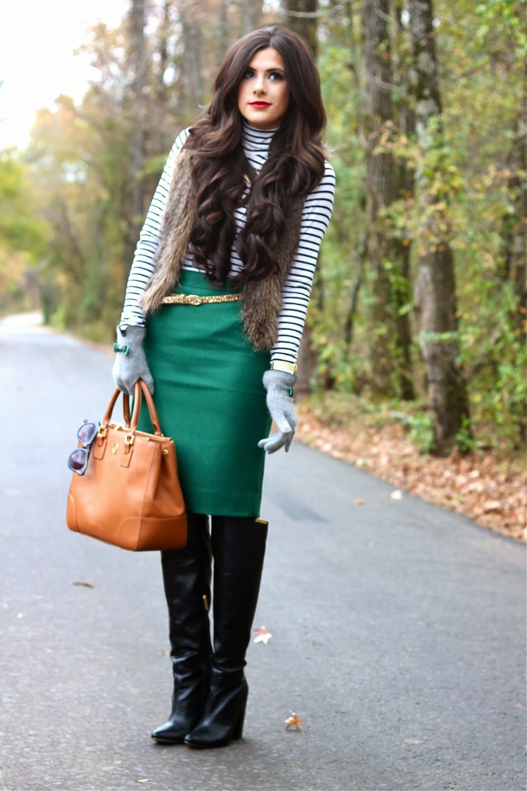 striped top, green pencil skirt, gold glitter belt, otk ...