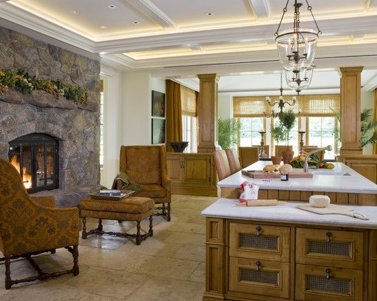 Dream Kitchen Fireplace With Seating And A Lowered Bread