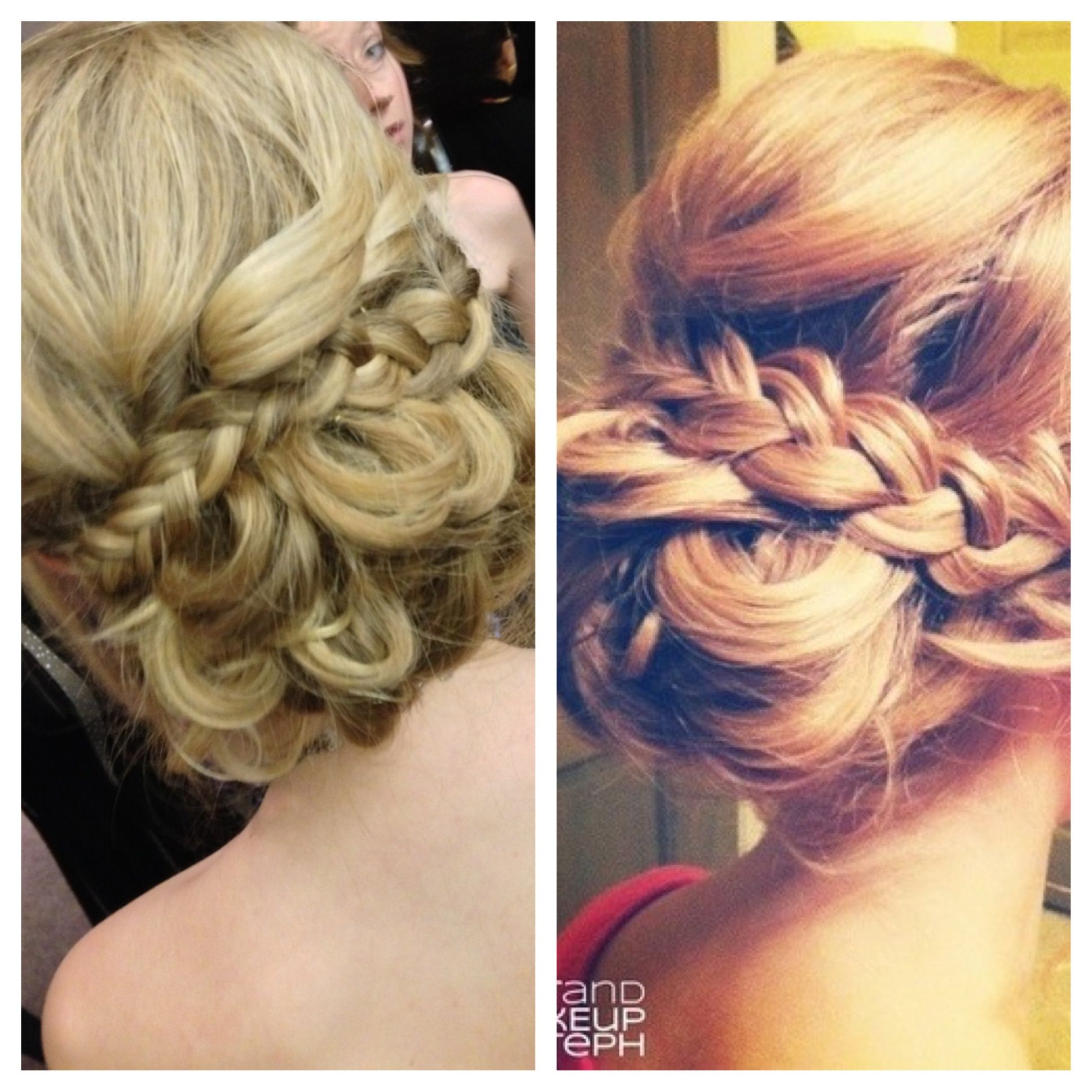 Left is the hair i did for winter formal right is the inspiration