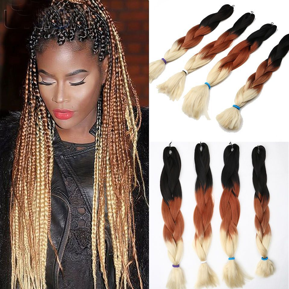 "3pcs three tone ombre braiding hair 24"" jumbo fiber braiding"