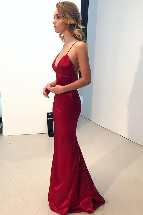 Straps Mermaid Red Long Evening Dress Backless 2