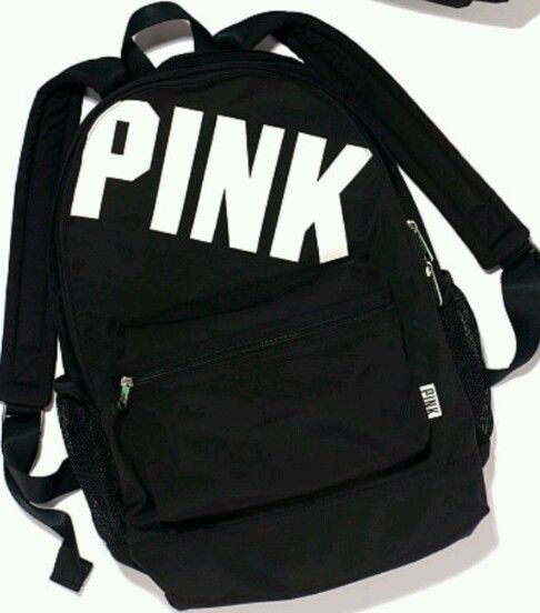 207703850caf Victoria s Secret PINK Campus Backpack Bookbag Travel Black w  White Logo   VictoriasSecret  Backpack