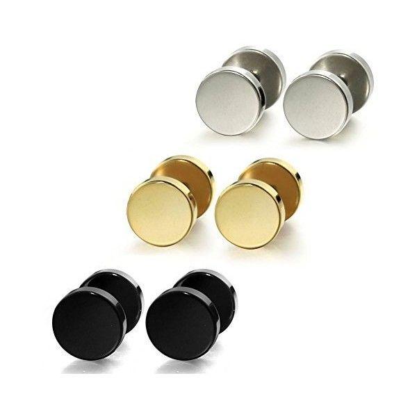 Fashion 8mm Wood Cheater Fake Ear Plugs Gauges Illusion Screw Stud Earrings 3pairs 7Qm56