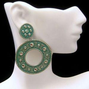 ELOXAL-Aluminum-Green-Enamel-Pierced-Earrings-Large-Dangles-Vintage-NOS
