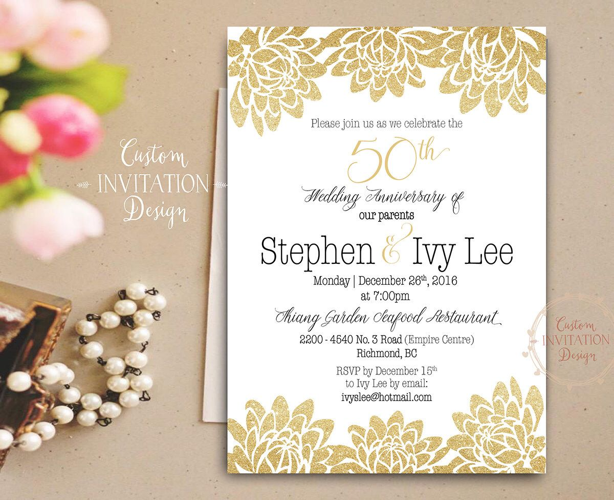 50th Anniversary Invitation Golden Wedding Anniversary Cheers To