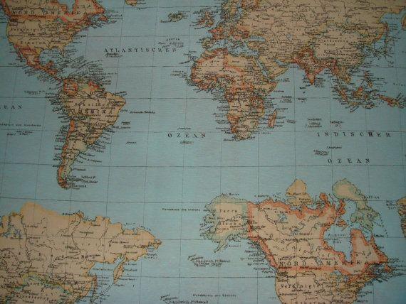 World Map Print 100 cotton designer upholstery by TheFabricShopUK