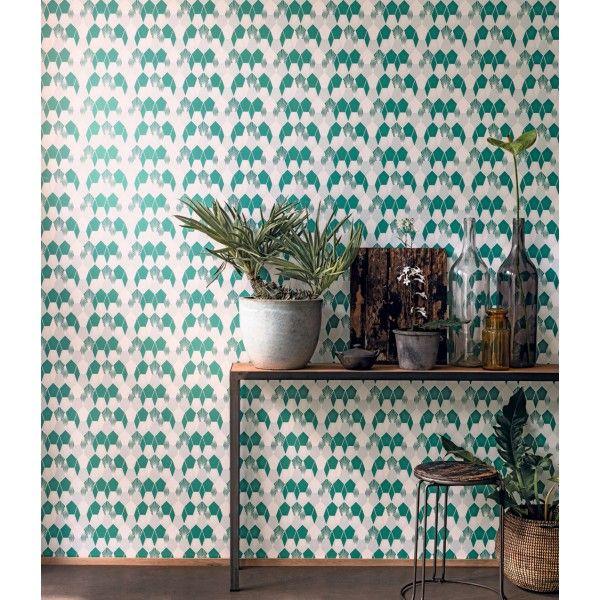 Papier Peint hamac vert et blanc – Jungle de Caselio | Réf. JUN100017707